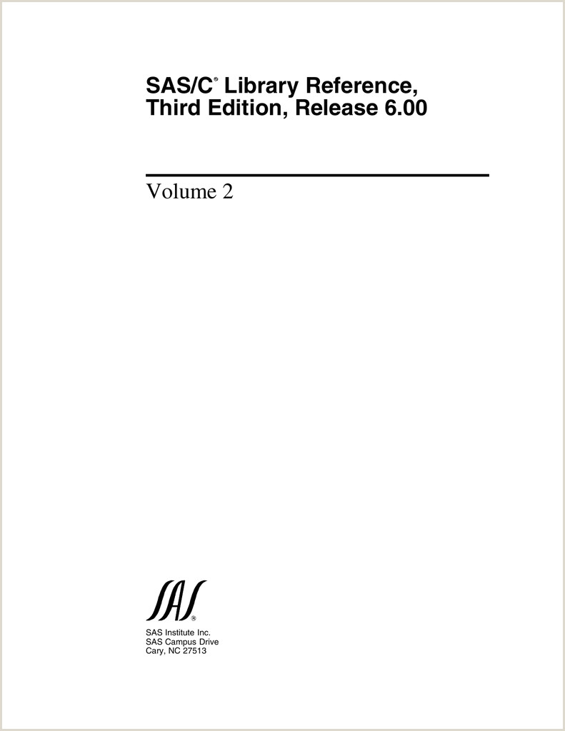 SAS C Library Reference Third Edition Release 6 00 Volume