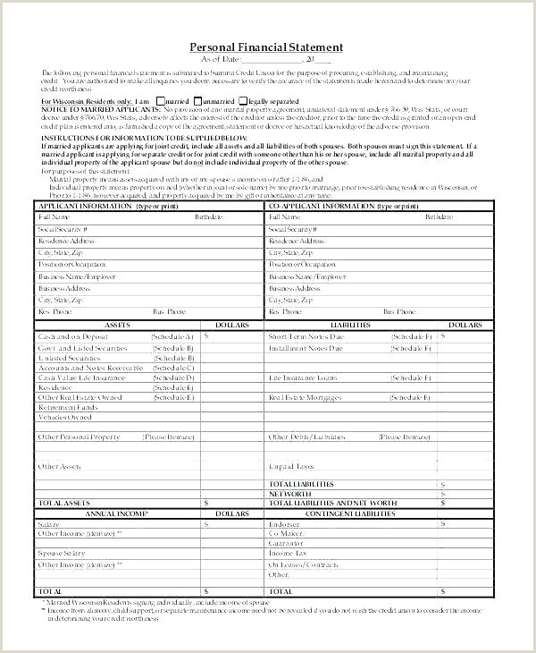Sba Personal Financial Statement Template Small Business Financial Statement Template