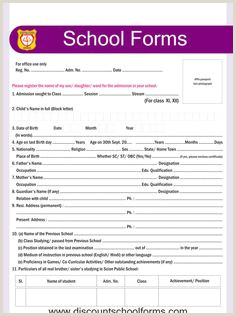 School Admition form 123 Best School forms Images