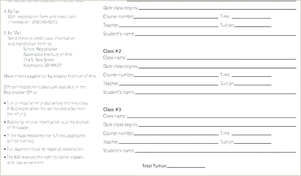 School Admition form School Registration form Template Word Dance Camp Class