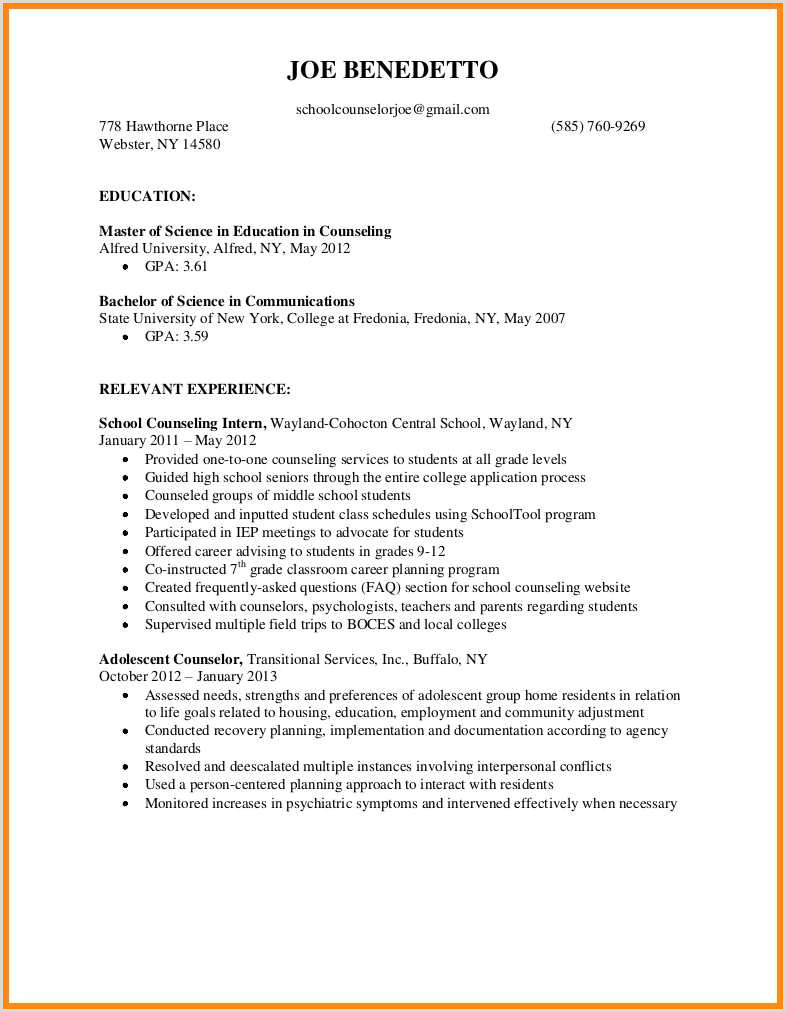 10 sample resume for counseling