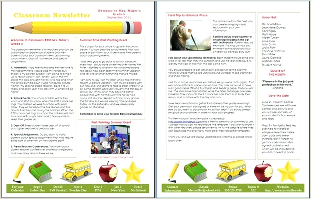 School Newsletter Templates Word Newsletter Template