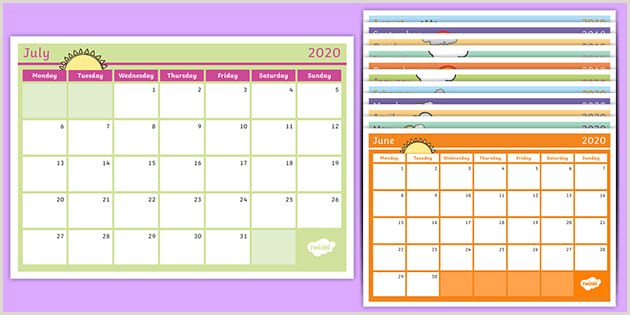 School Planner Template Academic Year Monthly Calendar 2019 2020 Planning