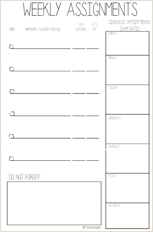 student assignment planner template