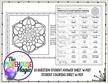 Balancing Chemical Equations Science Color By Number or Quiz