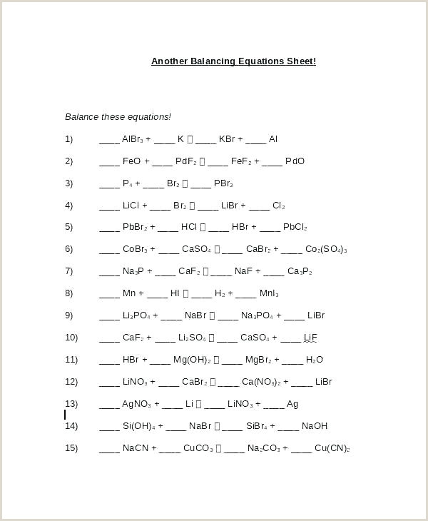 Science Balancing Equations Worksheet Balancing Equation Worksheet with Answers – Kcctalmavale