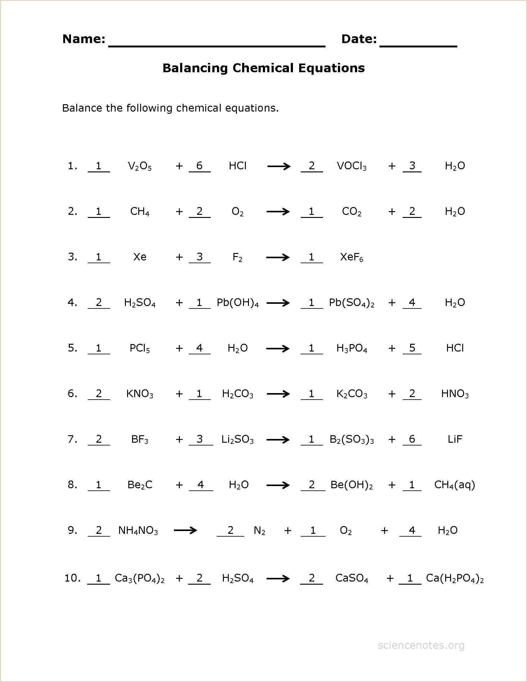 How to Balance Equations Printable Worksheets