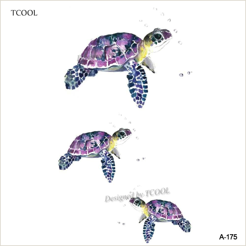 Sea Turtle Template Tcool 12 Pcs Lot tortue Autocollant De Tatouage Temporaire Pour Femmes Hommes Body Art Enfants Enfants Imperméable € La Main Faux Tatoo 9 8x6cm