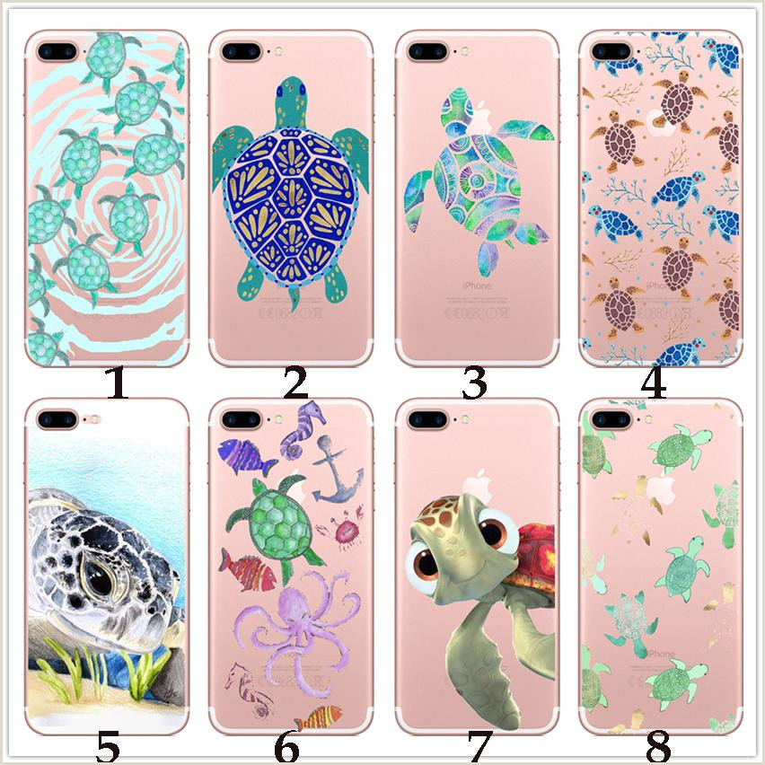 Transparent Soft Tpu Case pour Iphone X 7 8 6 plus Samsung Galaxy S7 bord s8 Note Femmes Tortues de mer Tortue Cartoon Téléphone Cas Peau Mignon