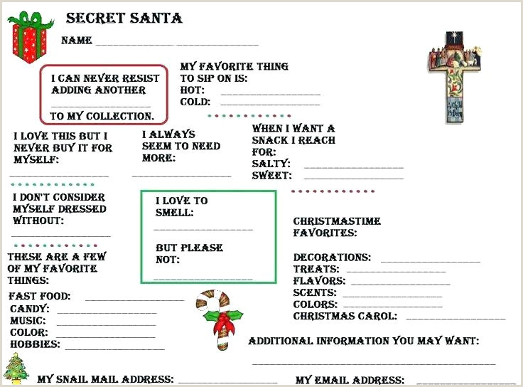 Secret Santa Questionnaire form Pdf Santa Wish List Template – Chicagolife