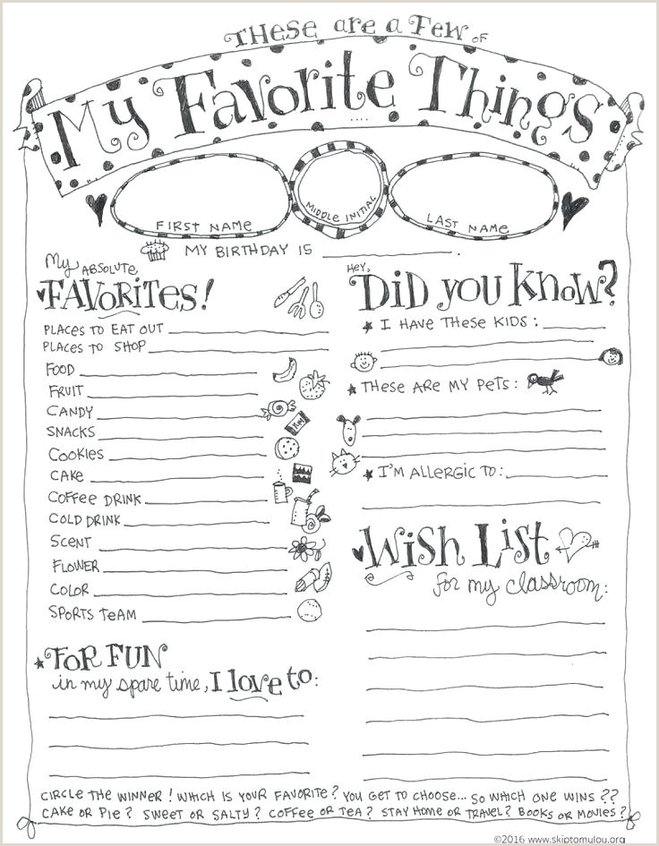Unique Inspirational My Favorite Things List Template