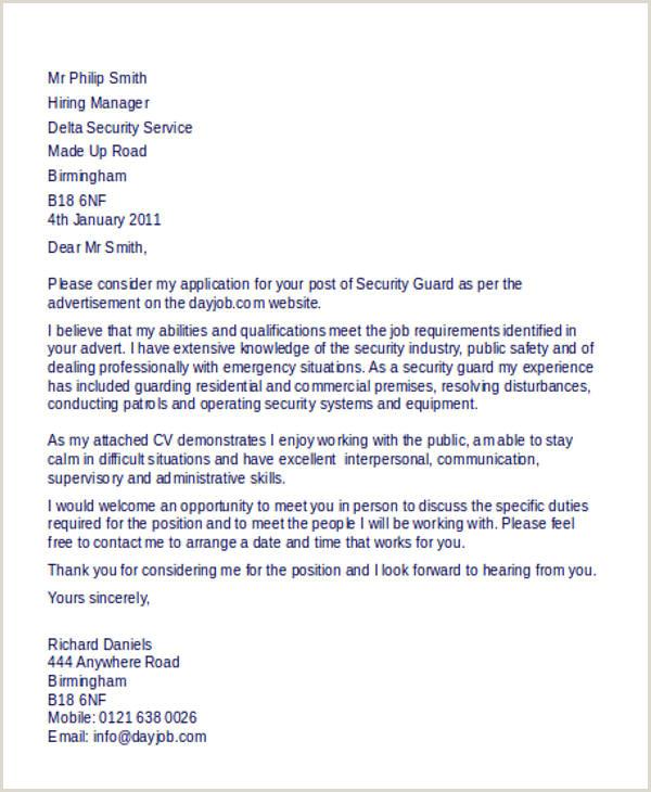 Job fer Letter For Security Guard