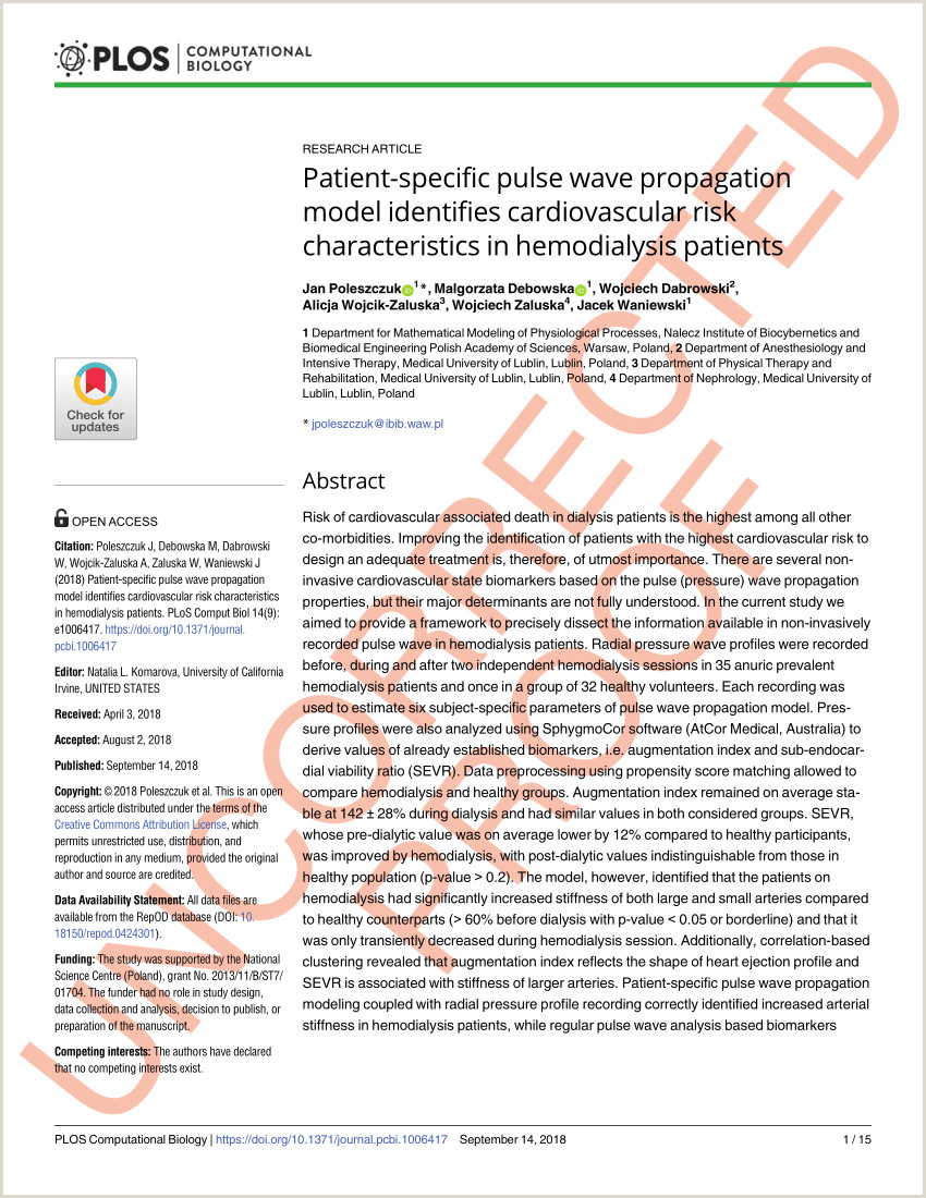 PDF Patient specific pulse wave propagation model