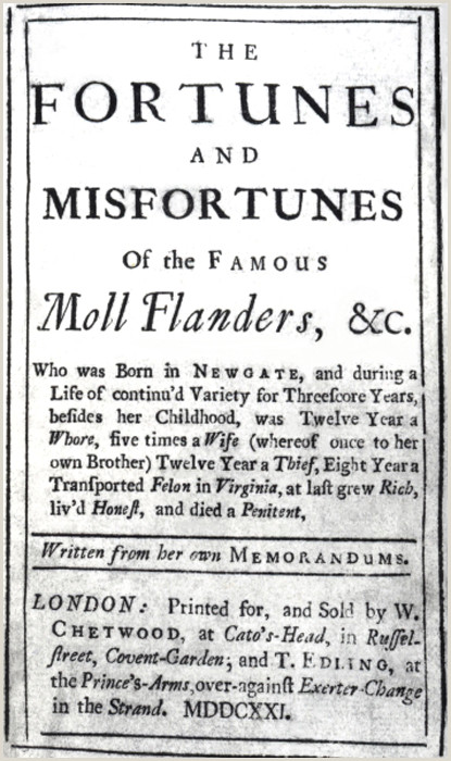 Self attested Meaning the fortunes and Misfortunes Of the Famous Moll Flanders by