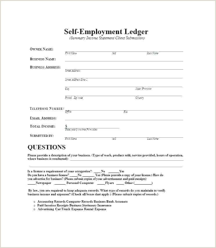 Self Employed Ledger Form Proof Of In E Template