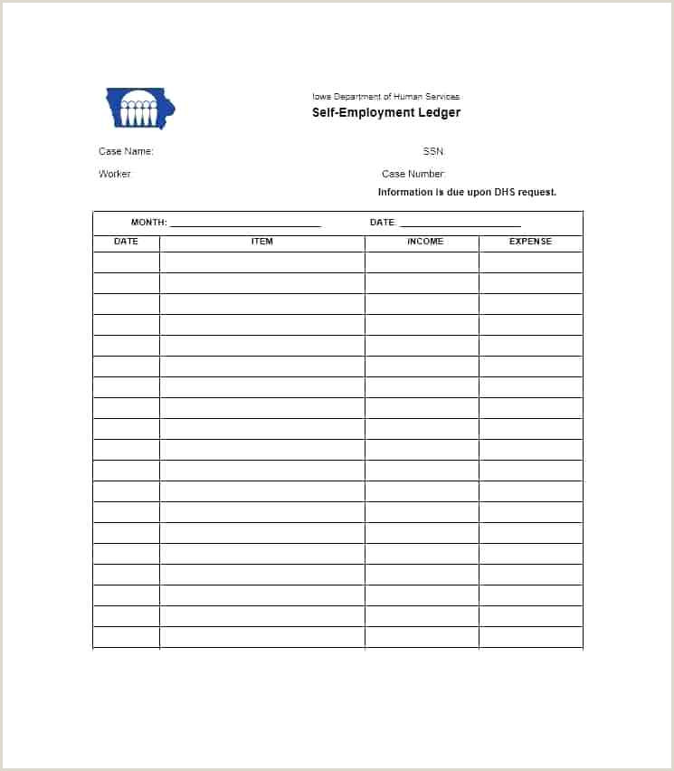 Self Employment Ledger Template Simple General Sample Excel