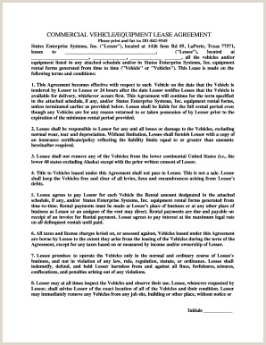 Semi Truck Lease Purchase Agreement form 29 Printable Equipment Lease Agreement forms and Templates