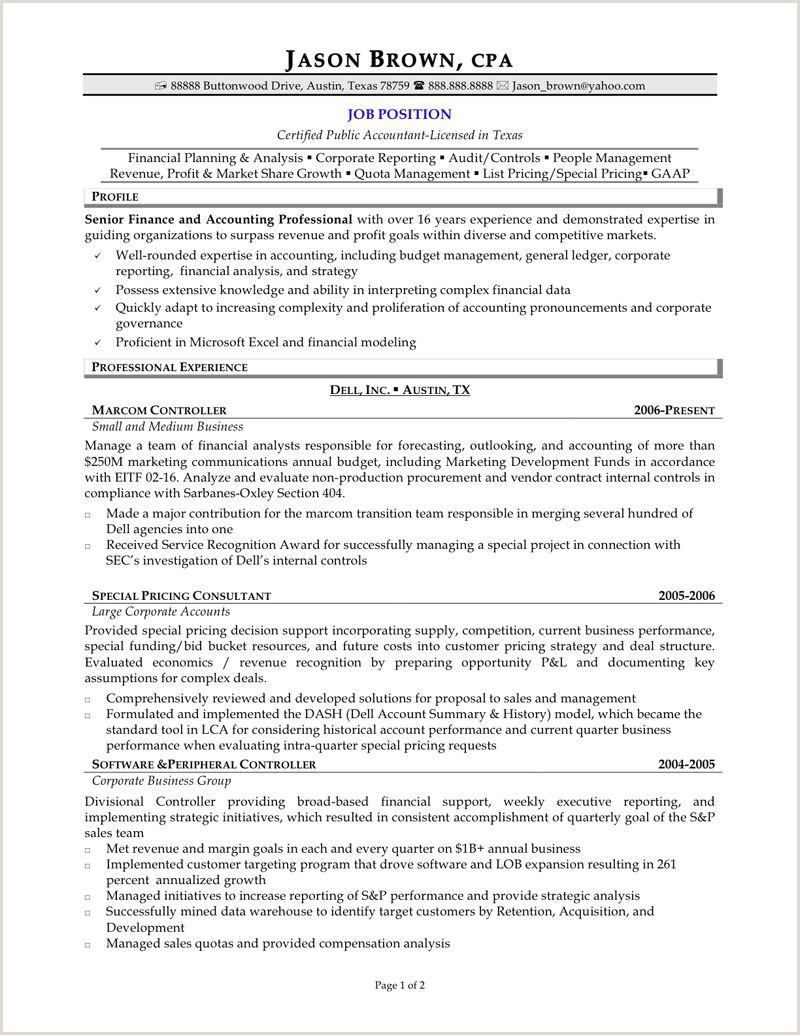 Senior Accountant Resume Pin Oleh Jobresume Di Resume Career Termplate Free