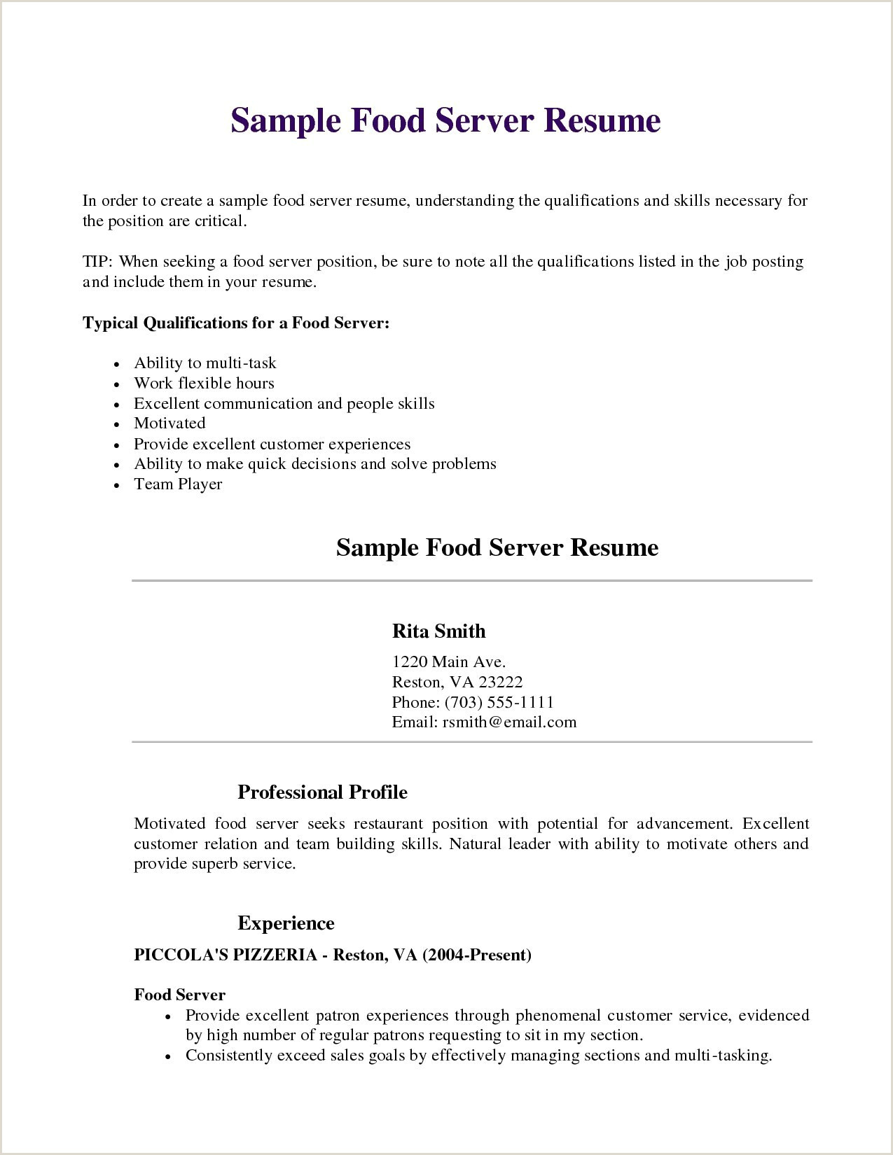 Servers Resume Example Objective Resume Examples Barista Resume 0d Wallpapers 42