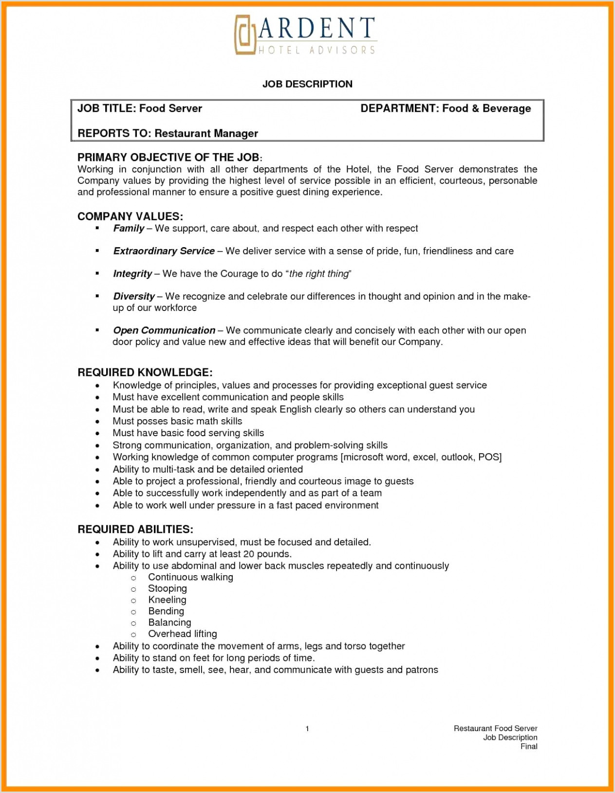 Serving Description for Resume Best Responsibilities A Waiter for Resume