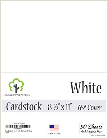 White Cardstock 8 5 x 11 inch 65Lb Cover 50 Sheets