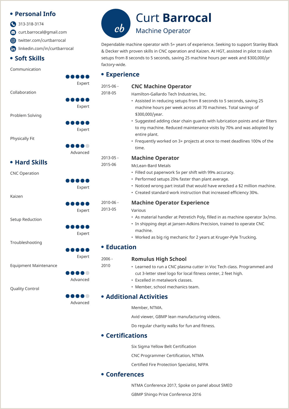 Machine Operator Resume Samples and Writing Guide [20