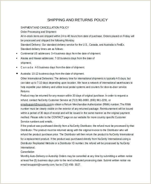 Shipping Policy Template Sample Shipping Policy Template Examples Canada