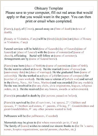 Short Obituary Examples Fill In the Blank Short Obituary Template with Picture
