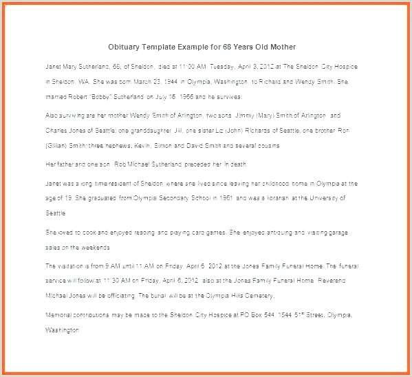 Obituary Template Father Short Mother Samples
