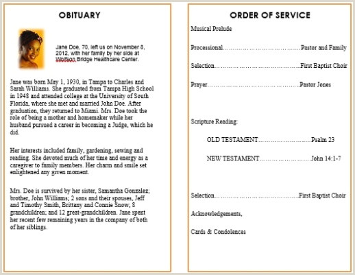 Short Obituary Examples FREE DOWNLOAD