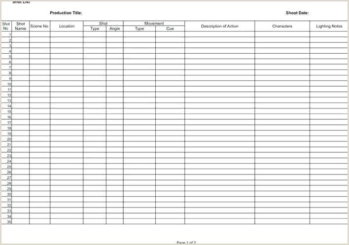Shot List Template Excel Shotlist Template – Grupofive