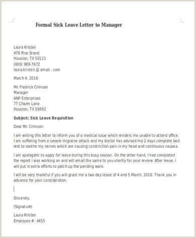 Sick Leave Letter to Manager 11 Ficial Medical Leave Letter Examples Pdf