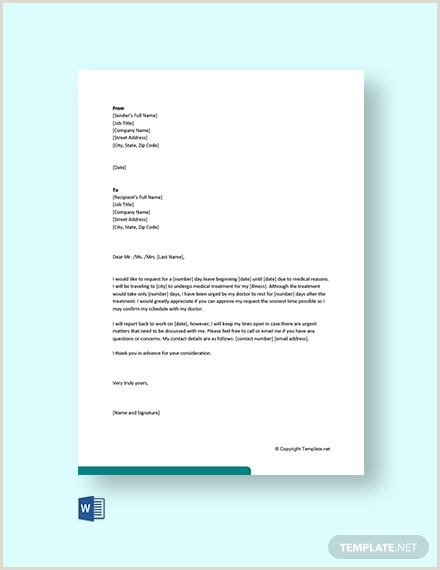 Sick Leave Letter to Manager 17 Free Leave Letter Templates Pdf Word