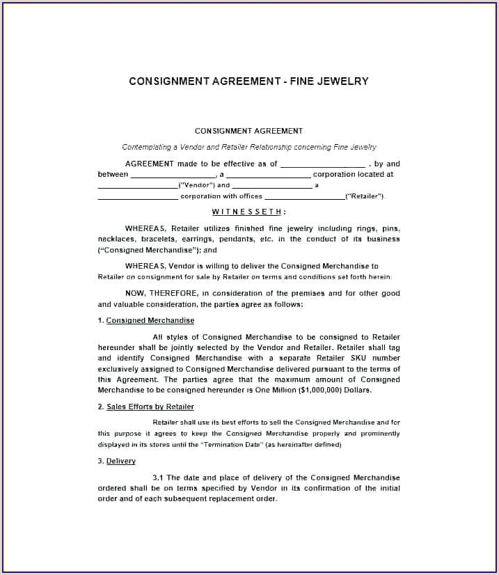 Simple Consignment Agreement Consignment Stock Agreement Template Inventory Contract