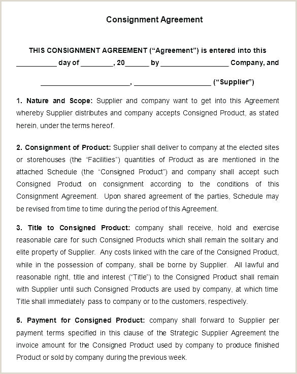 Simple Consignment Agreement Medium Size Consignment Agreement Template Contract Free