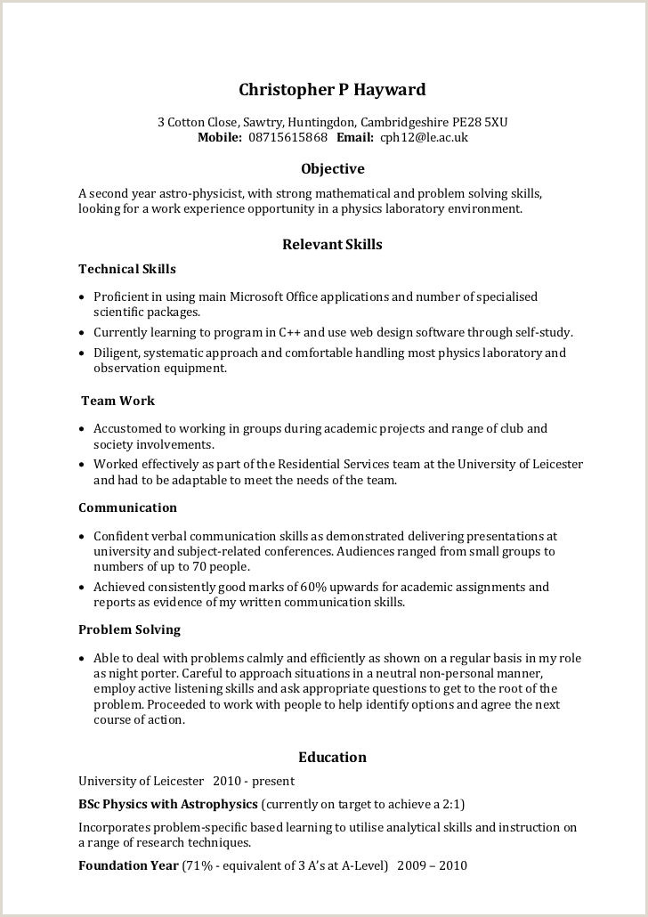 Simple Cv format for Job Application Pdf 25 Skills and Abilities for Resume Examples