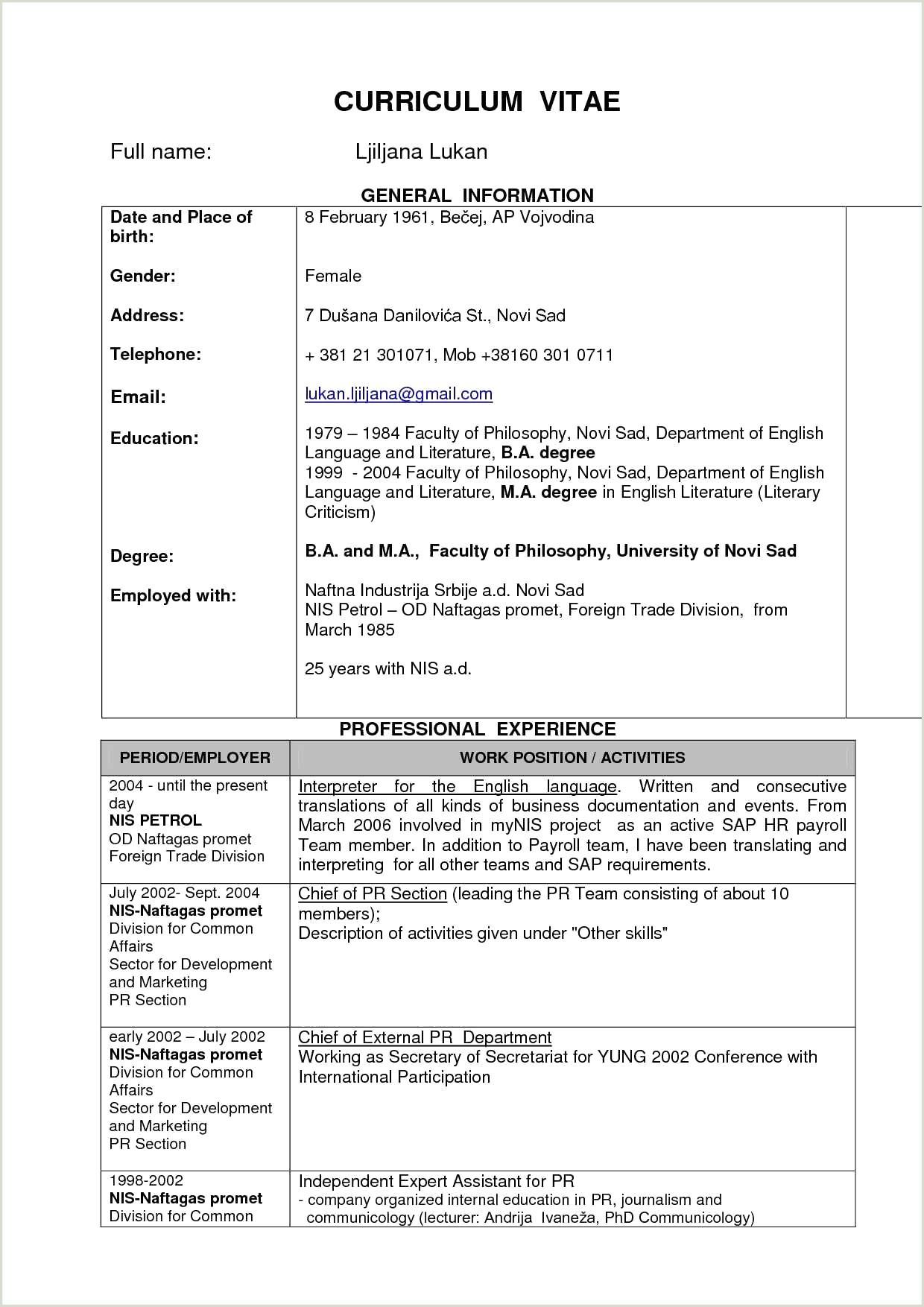 Simple Fresher Resume format Word Simple Resume format for Freshers Free 13 Resume Sample for