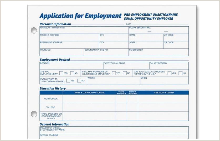 Simple Job Application form Generic Employment Application form Candy Dish