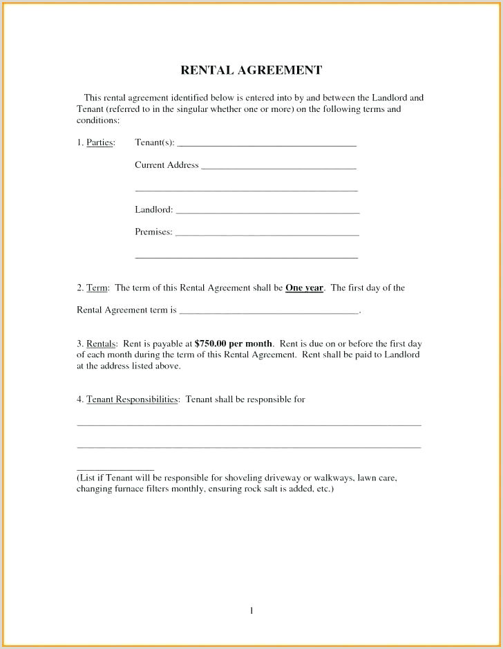Free Printable Basic Rental Agreement Lease Form Simple
