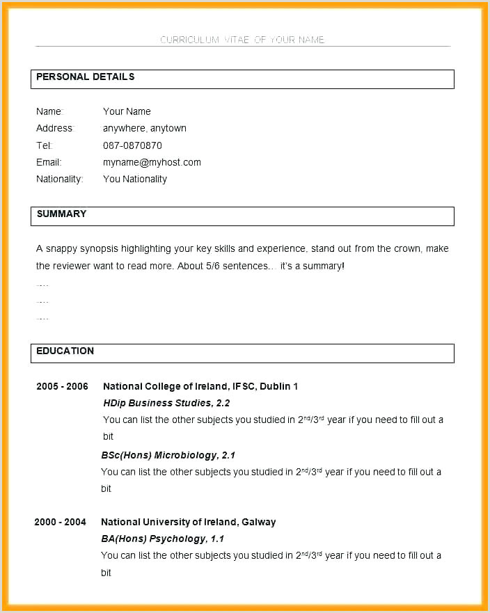 Simple Resume Format Download In Ms Word For Fresher It Resume Format In Word – Psychepow