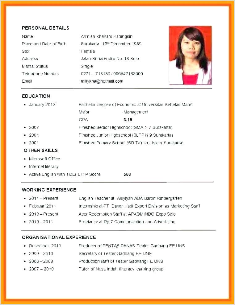 Simple Resume format for Job In Pdf Resume Pattern for Job Application – Joefitnessstore