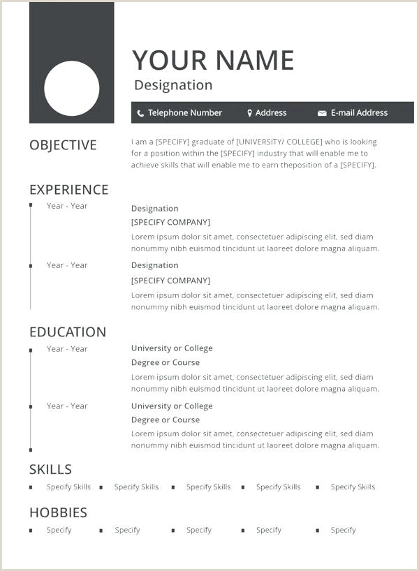 Simple Resume format for Job Pdf Download Curriculum Vitae Template Pdf