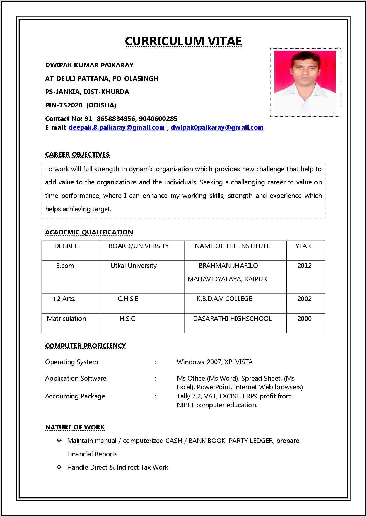 Simple Job Resume Format Pdf Resume Resume Designs
