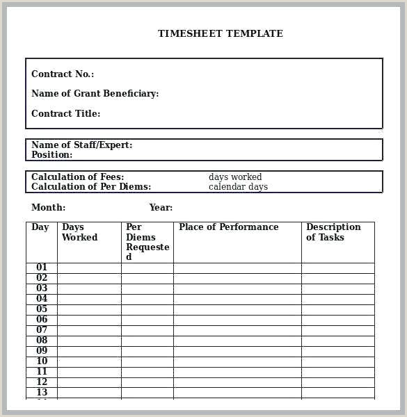 Invoice Template Word Good Simple Monthly Timesheet