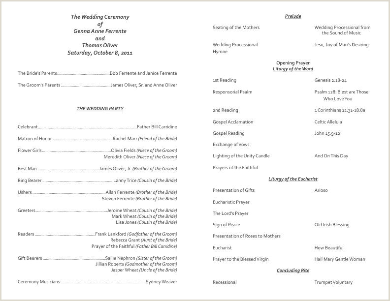 ✓ Free Customizable Catholic Wedding Program Template 2853
