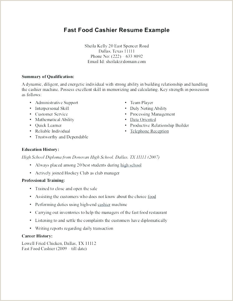 Skills for Cashier Lovely Fast Food Cashier Resume and Cashier Duties Resume