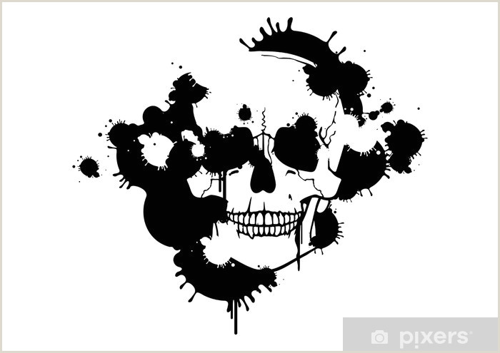 Skull and Crossbone Stencil Ink Blots Creating A Skull Silhouette Wall Mural Vinyl
