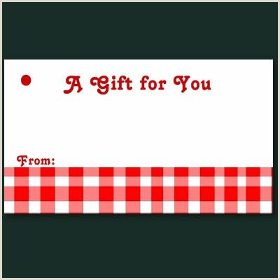 Small Gift Tag Template Gingham Plaid Country Checkered Pattern Red White