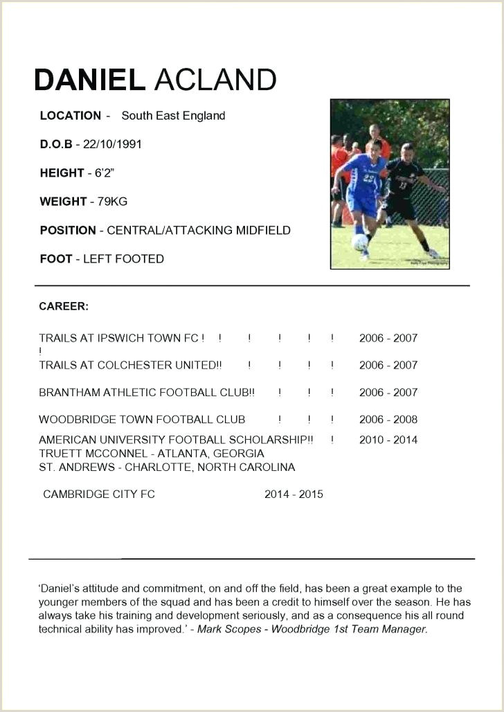 Soccer Player Resume Template Football Cv Template – Nuvee