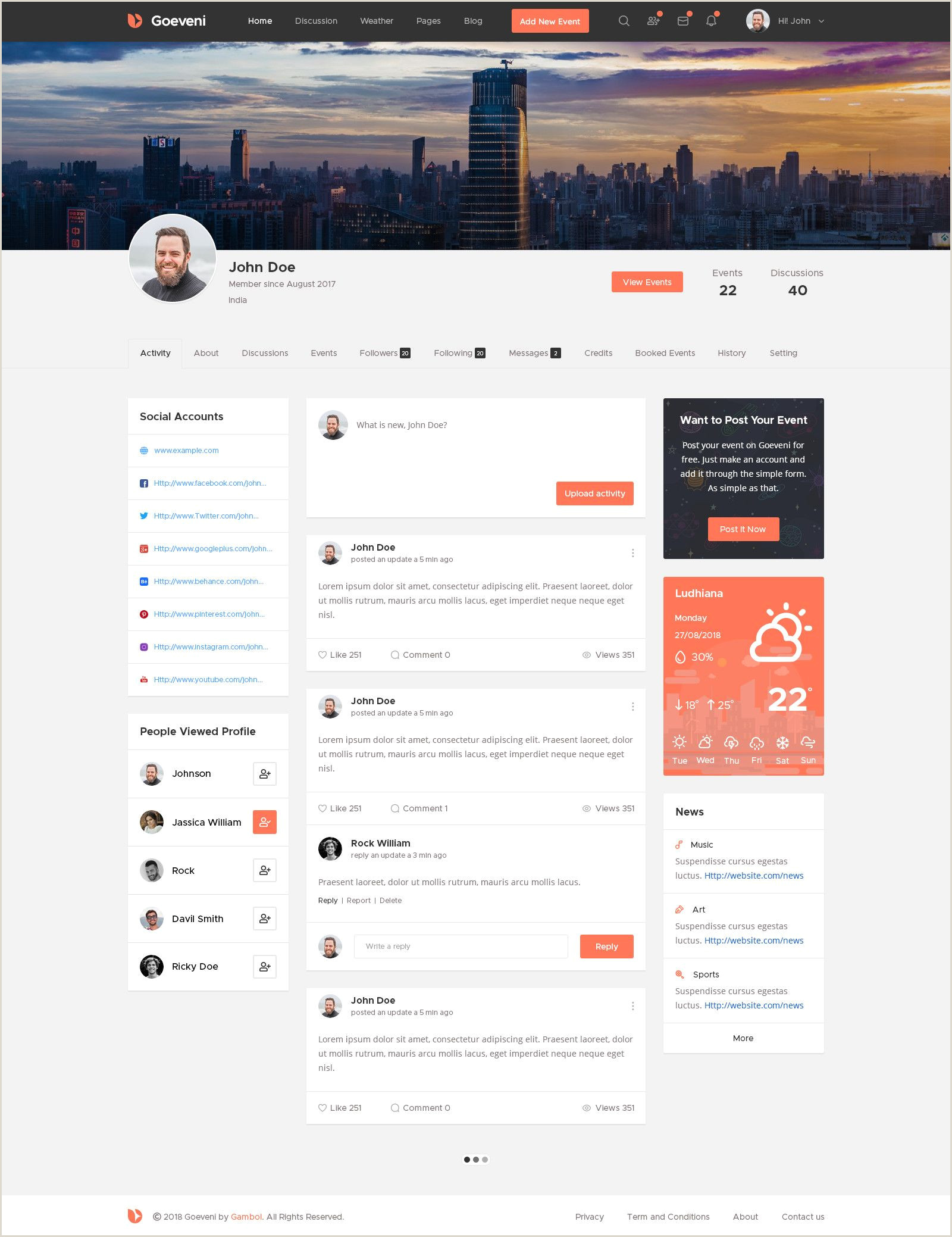 Goeveni Event Sharing Social Network Psd Template Sharing